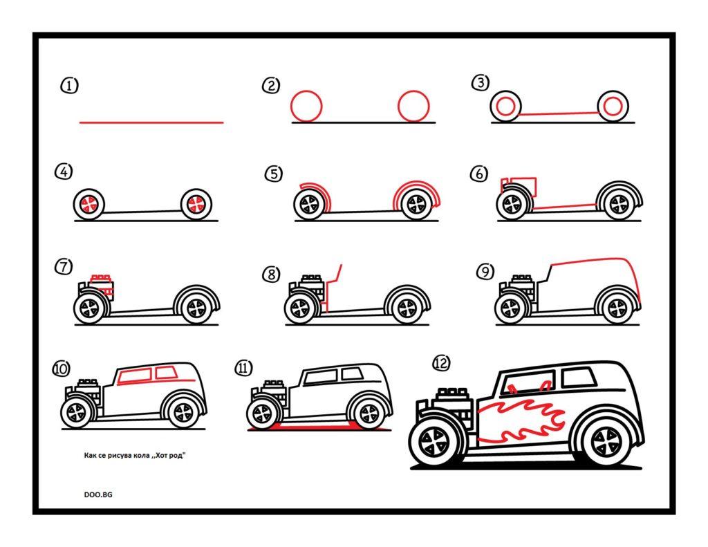 Как се рисува кола хот род