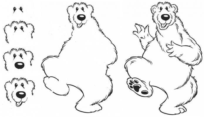 как се рисува мечока от Маша и мечока