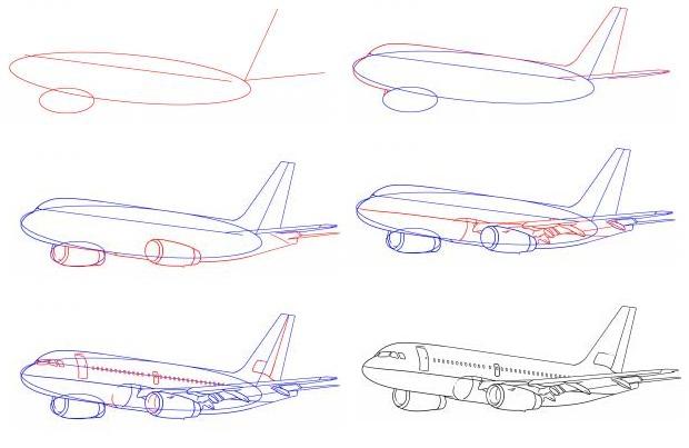 Как се рисува самолет